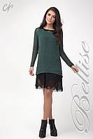 Модный комплект из  вязаной туники и платья