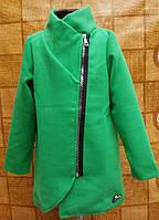 Пальто кашемир для девочки Арника р.128-146 зеленый