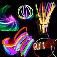 Браслеты неоновые светящиеся разноцветные 100 шт