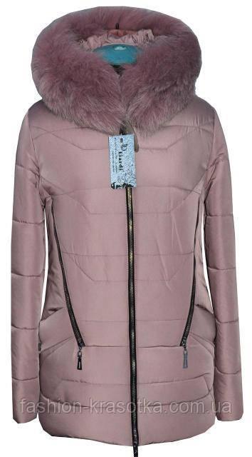 Молодежная шикарная зимняя куртка,цвет пудра.