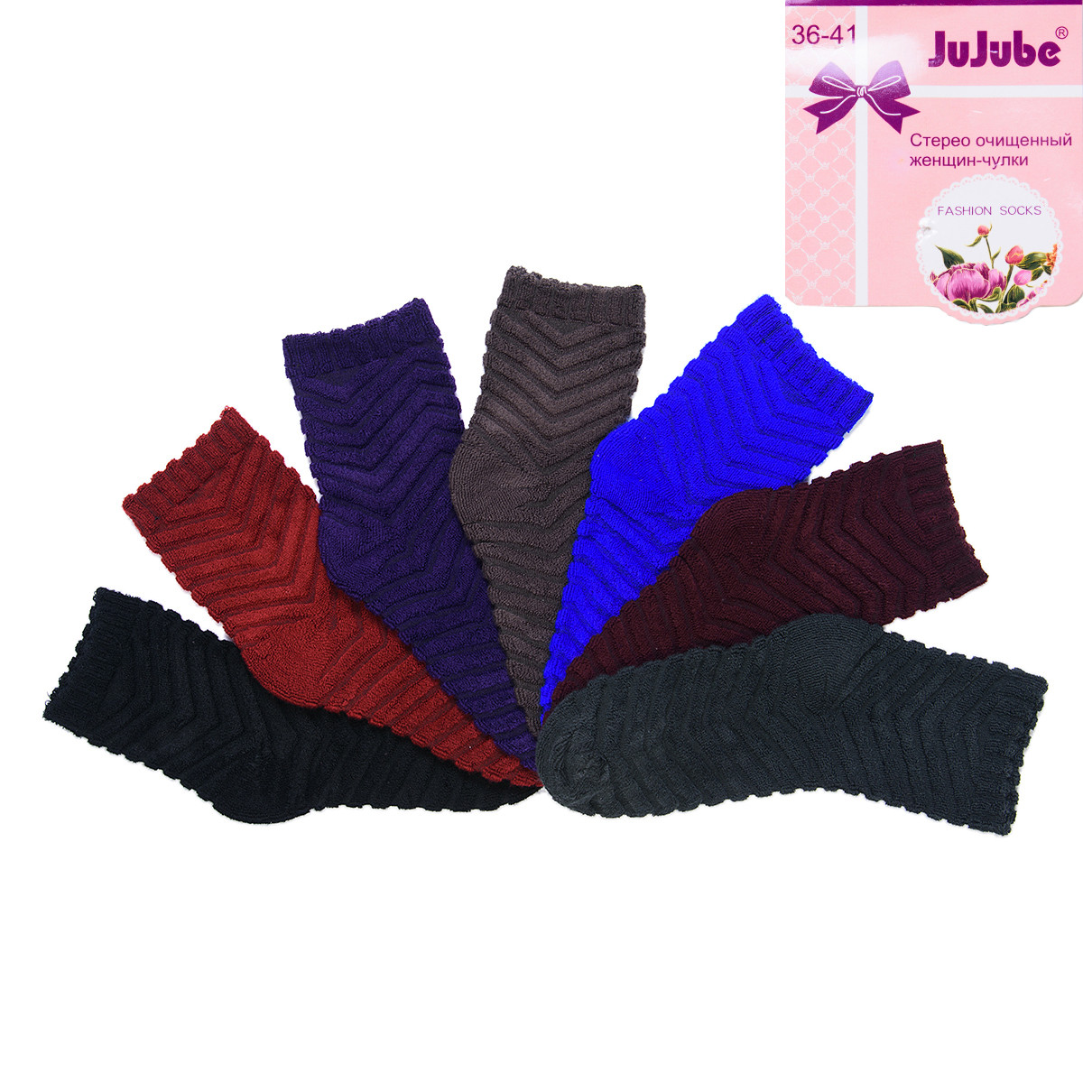 Носки женские махровые полосатые Jujube A138-13 | 12 шт.
