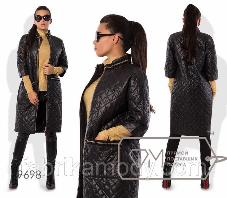 Пальто-кокон из стёганой плащёвки на синтепоне с рукавами 3/4, воротом-стойкой