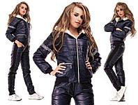 Костюм теплый стеганная плащевка на синтепоне, подкладка куртки мех( овчинка)синий, черный, красный ао№200-540
