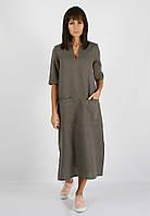 Серое льняное платье с карманами и разрезами по бокам, фото 1