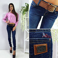 Женские стрейчевые джинсы узкие с ремнем Польша БАТАЛ, фото 1