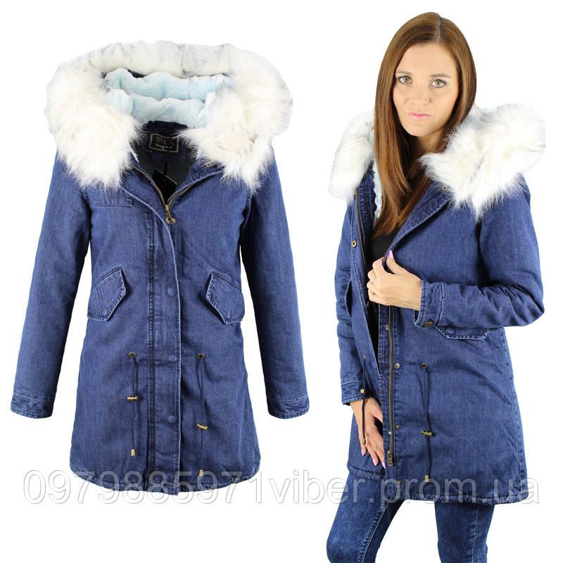 Зимняя джинсовая женская куртка парка  продажа 14046a1ab0478