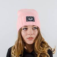 """Шапка для девушек """"Айва"""" пудра. Молодежные женские шапки. Шапки зимние."""