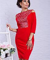 Женское платье с набивным гипюром больших размеров (Питония lzn)