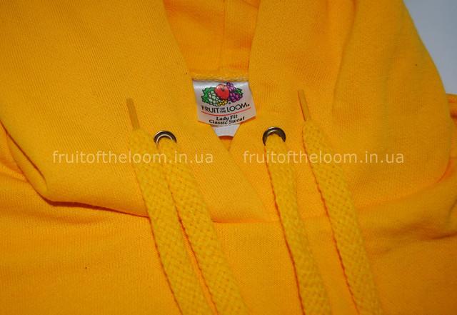 Солнечно-жёлтая женская классическая толстовка с капюшоном