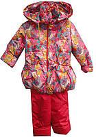 Костюм детский на девочку 10003 рюша принт куртка и комбинезон с капюшоном на флисе непромокаемый (деми)