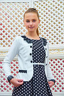 Нарядный пиджак-болеро для девочки р.134-152 молочный