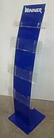 Напольная стойка для рекламной продукции изогнутая, цвет синий