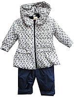 Костюм детский на девочку 10003 рюша бантики куртка и комбинезон с капюшоном на флисе непромокаемый (деми)