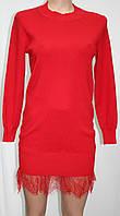 Женское теплое красное платье, короткое, с кружевом