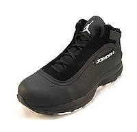 Ботинки с мехом Jordan кожаные черные унисекс (р.35,36,37,38,39)