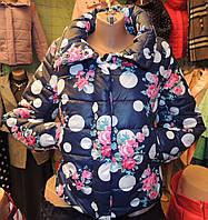 Женская зимняя куртка Буковель, синтепух, 4 размера, синие розы