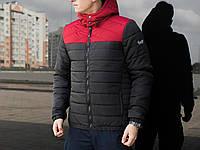 Молодежная мужская ветровка весенняя Pobedov Jacket Rise  (Black - Burgundy)