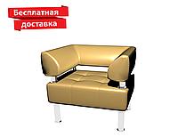 Кресло из кожзама для офиса чсветло-коричневое, фото 1