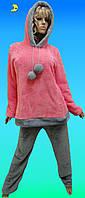Пижама женская теплая махровая для дома и сна с длинными брюками, размер от 42 до 52, Харьков