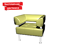 Кресло из кожзама для офиса светло-зеленое, фото 1