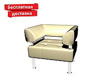 Кресло из кожзама для офиса молочное, фото 1