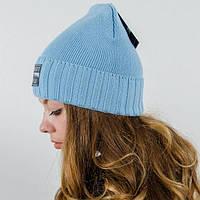 """Женская шапка """"Николь"""" голубой. Молодежные шапки. Шапки на зиму."""