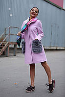 Женское стильное супер стильное кашемировое пальто с натуральным мехом на карманах, 3 цвета
