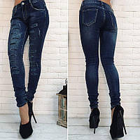 Женские стрейчевые джинсы узкие с паетками Польша БАТАЛ, фото 1