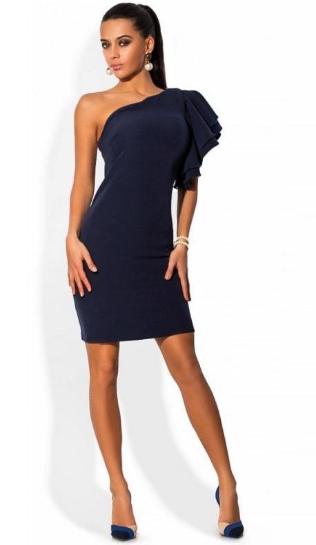 a6f6d6e9994 Платье на одно плечо с воланами темно синее - Lace Secret - Магазин  женского белья и