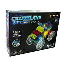 """Конструктор светящийся на 76 деталей """"Большие машины""""Crystaland lighted brix """"6 в 1"""" 99004"""