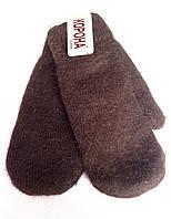 Женские варежки Корона ангора/махра, коричневые