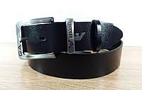 Кожаный Джинсовый Ремень Armani.120 см. (Черный).