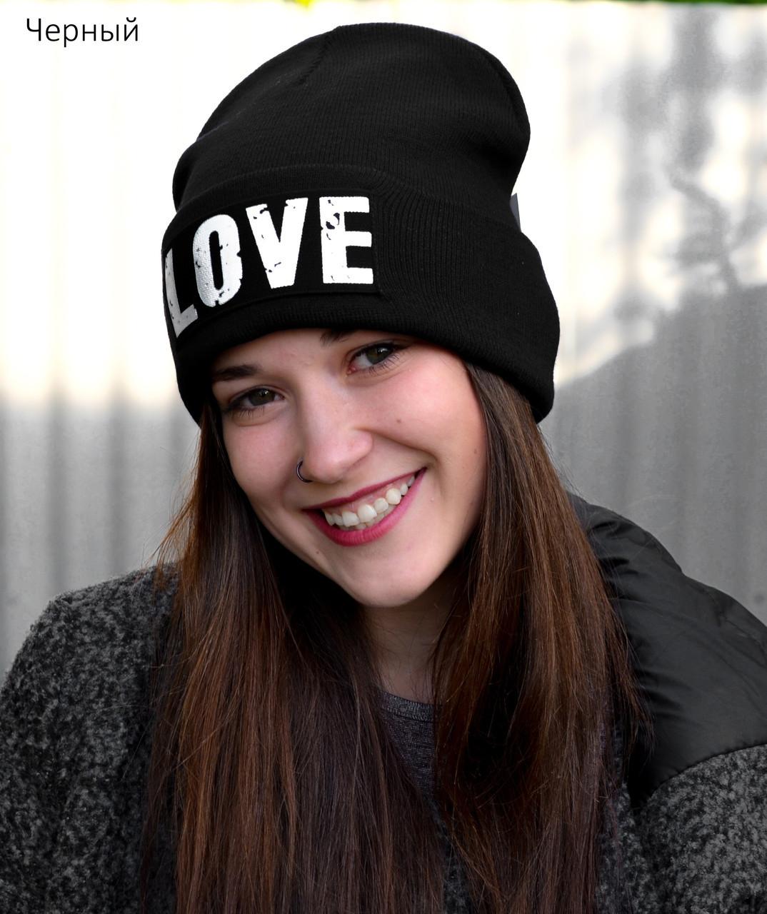 Черная осенне зимняя шапка для девочки