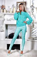 Брючный костюм. Ткань: верх - ангора пушистая, брюки - джинс-стрейч. 3 расцветки апро №2137