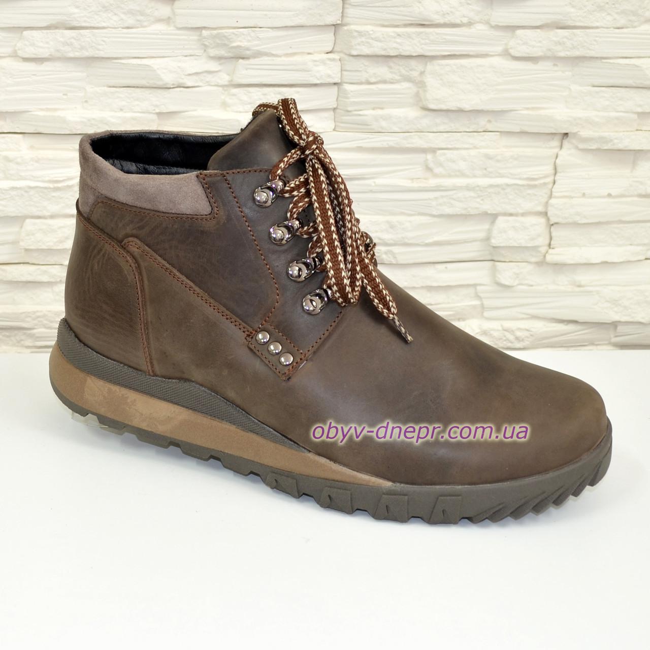 Ботинки мужские на шнуровке, натуральная кожа крейзи