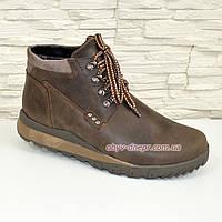Ботинки мужские на шнуровке, натуральная кожа крейзи, фото 1