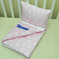 Набор в коляску одеяльце + подушка - 15