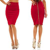 Трикотажная юбка с металлической молнией