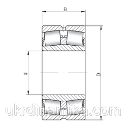 Сферический роликоподшипник двухрядный - схема
