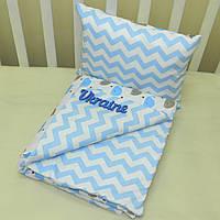 Набор в коляску одеяльце + подушка - 13