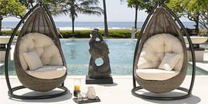 Подвесные кресла Кокон из искусственного ротанга