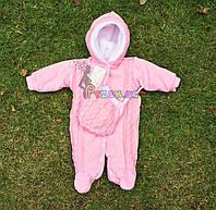 Человечек детский теплый розовый + шапочка, 56-62 р., (велюр-махра с довязом)