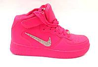 Женские кроссовки Nike высокие розовые/белые Ni0157