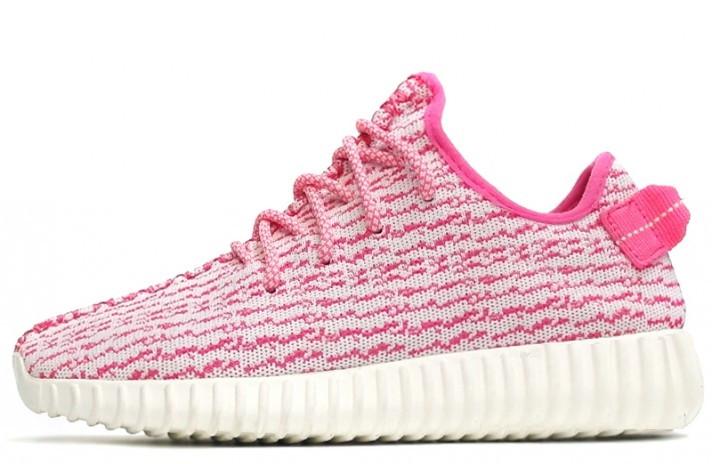 Женские кроссовки Аdidas Yeezy Boost 350 Pink\White, розовые, А-д изи буст . ТОП Реплика ААА класса.