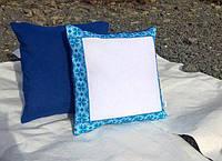 """Подушка """"Українська традиція, орнамент"""" квадрат 35х35 білий/синій"""