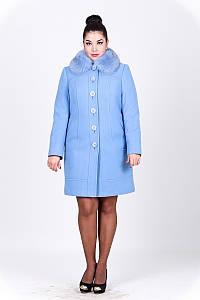 Зимнее кашемировое пальто большого размера с мехом песца и поясом