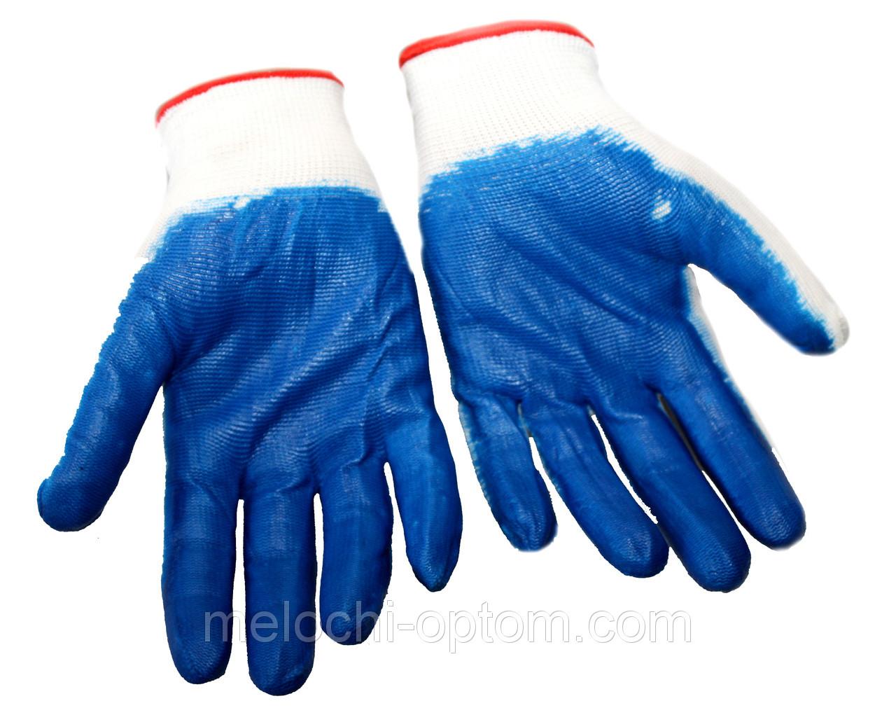 Перчатки рабочие (Стрейч) синие, для садовых и бытовых работ