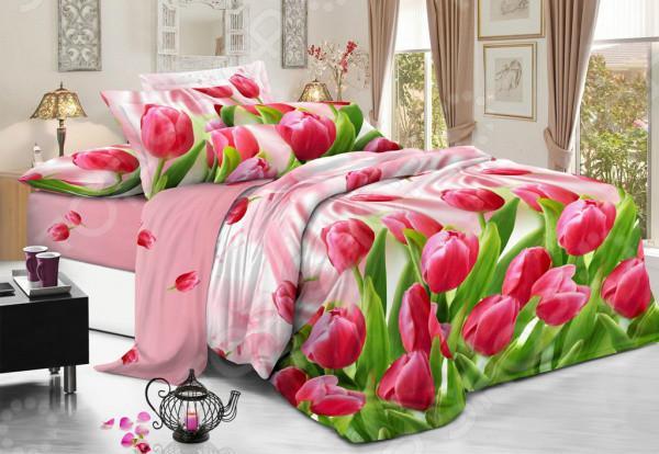 """Двуспальный комплект постельного белья 180*220 из полиэстера """"Розовый Тюльпан"""""""