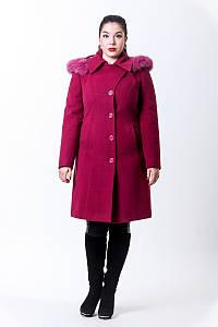 Зимнее пальто из кашемира большого размера с капюшоном и поясом