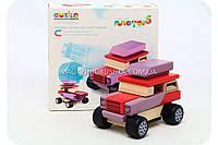 Бесплатная доставка. Детский деревянный конструктор Машина с магнитами Cubika(Кубика) 12046.